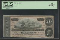 1864 $20 Twenty Dollars Confederate States of America Richmond CSA Bank Note Bill (T-67) (PCGS 61) (PPQ) at PristineAuction.com