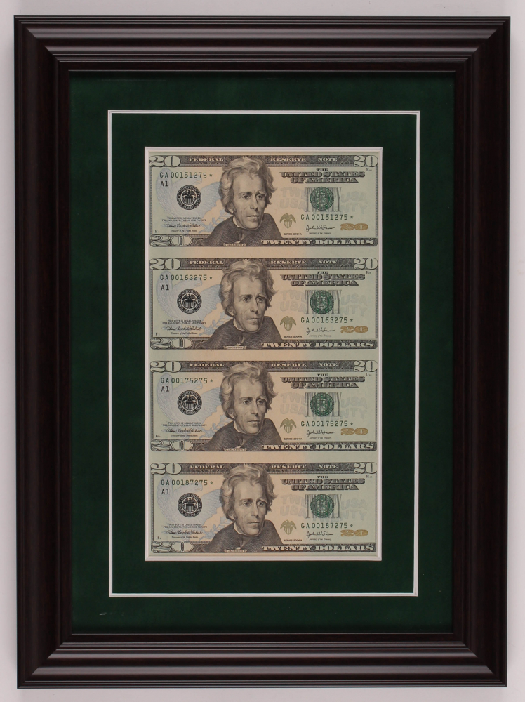 Uncut Sheet of (4) 2004 $20 One-Dollar Green Seal U.S. Federal Reserve Note Bills 12.5x17 Custom Framed Display at PristineAuction.com