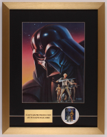 "Ralph McQuarrie ""Star Wars: Return of the Jedi"" 17x22 Custom Framed Pre Production Art Print Display with Vintage Star Wars Pin at PristineAuction.com"