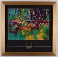 "LeRoy Neiman ""Horse Racing"" 17.5x18 Custom Framed Print Display with 1960s Pewter Kentucky Derby Emblem at PristineAuction.com"