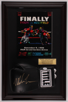 Mike Tyson Signed 15.5x23.5 Custom Framed Boxing Glove Display with Tyson vs Holyfield Original Leroy Neiman Art Program (JSA COA) at PristineAuction.com