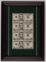 Uncut Sheet of (4) 2003 $5 One-Dollar Green Seal U.S. Federal Reserve Note Bills 12.5x17 Custom Framed Display at PristineAuction.com