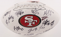2019 49ers Logo Football Team-Signed by (23) with Kyle Shanahan, Raheem Mostert, DeForest Duckner, Matt Breida (JSA ALOA) at PristineAuction.com