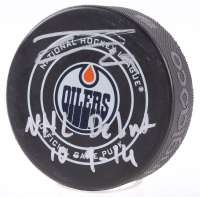 "Leon Draisaitl Signed Oilers Logo Hockey Puck Inscribed ""NHL Debut 10-9-14"" (PSA COA) at PristineAuction.com"