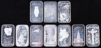 Lot of (10) Vintage 1 Ounce .999 Fine Silver Holiday Bullion Bars at PristineAuction.com