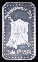 "Vintage 1974 1 Oz. 999 Fine Silver ""Independance Day"" Bullion Bar at PristineAuction.com"