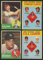 Lot of (4) 1963 Topps Baseball Cards with #25 Al Kaline, #120 Roger Maris, #9 NL Strikeout Leaders, & #5 NL ERA Leaders at PristineAuction.com