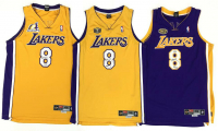 "Lot of (3) Kobe Bryant Signed ""3 Peat"" Lakers LE Jerseys (UDA COA) at PristineAuction.com"