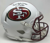 "Jerry Rice Signed 49ers LE Full-Size Authentic On-Field Matte White Speed Helmet Inscribed ""NFL Top 100"" & ""HOF 2010"" (Fanatics Hologram) at PristineAuction.com"