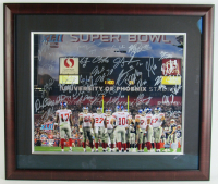 2007 Giants Super Bowl XLII Champions 23x27 Custom Framed Photo Display Team-Signed by (34) with Michael Strahan, Eli Manning, Steve Smith, Chris Snee (Steiner COA) at PristineAuction.com