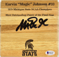 Magic Johnson Signed Michigan State Spartans 6x6 Custom Engraved Wood Floorboard Piece (Beckett COA) at PristineAuction.com