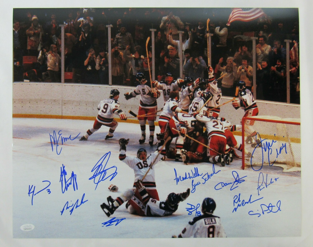 """1980 Team USA """"Miracle on Ice"""" 16x20 Photo Signed by (14) with Jim Craig, Mike Eruzione, Craig Patrick, Ken Morrow (JSA Hologram) at PristineAuction.com"""