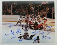 "1980 Team USA ""Miracle on Ice"" 16x20 Photo Signed by (14) with Jim Craig, Mike Eruzione, Craig Patrick, Ken Morrow (JSA Hologram) at PristineAuction.com"