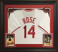 "Pete Rose Signed 32x37 Custom Framed Jersey Inscribed ""Hit King"" (PSA COA) at PristineAuction.com"