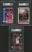 Lot of (3) SGC Graded Michael Jordan Basketball Cards 1991-92 Fleer #375 TL (SGC 8.5),  1992-93 Upper Deck #23 (SGC 8.5) & 1997-98 Upper Deck Game Dated Memorable Moments #18 (SGC 9) at PristineAuction.com