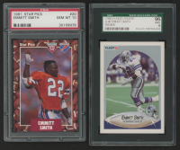 Lot of (2) Emmitt Smith Football Cards with 1991 Star Pics #20 FLB (PSA 10) & 1990 Fleer Update #U40 RC at PristineAuction.com