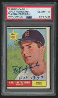 "Carl Yastrzemski Signed 1961 Topps #287 Inscribed ""HOF 1989"" (PSA Encapsulated) at PristineAuction.com"