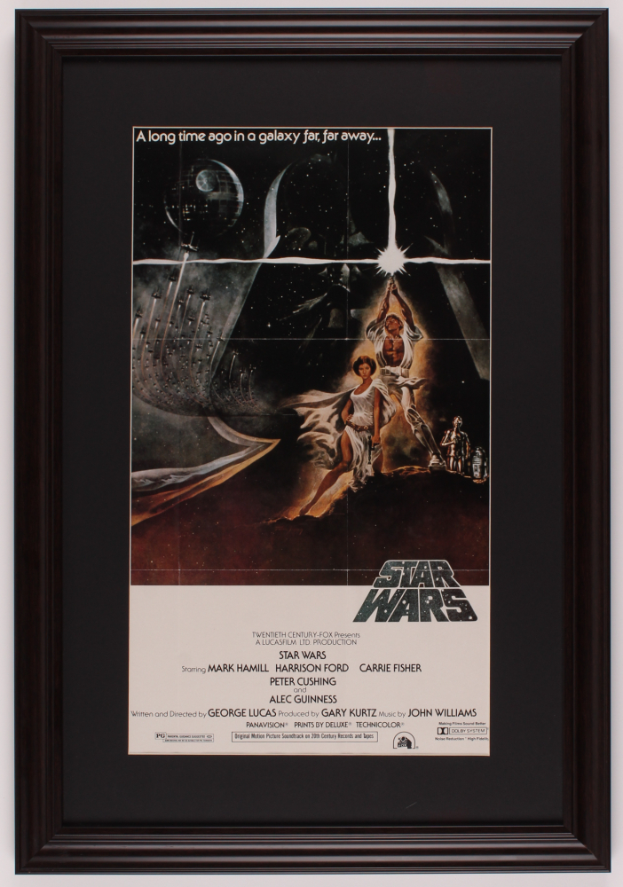 """Star Wars"" 17.5x25.5 Custom Framed Movie Poster Print Display at PristineAuction.com"