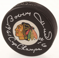 "Bobby Hull Signed Blackhawks Logo Hockey Puck Inscribed ""1st 50th 3-25-62"" (Schwartz COA) at PristineAuction.com"