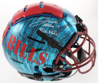 "Josh Allen Signed Bills Full-Size Authentic On-Field Hydro Dipped F7 Helmet Inscribed ""Bills Mafia!"" (Beckett COA) at PristineAuction.com"