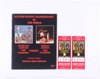 Lot of (3) 1981 Sugar Ray Leonard vs. Tommy Hearns Fight Items with (2) Vintage Tickets & Program at PristineAuction.com