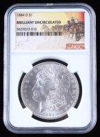 1884-O $1 Morgan Silver Dollar - Stage Coach Label (NGC Brilliant Uncirculated) at PristineAuction.com