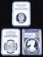 "Lot of (3) Graded Coins with (1) 2019-W $1 Silver Eagle (PCGS PR70 DCAM), (1) 2013 ""Smithsonian Collection"" 1906 Double Eagle (NGC GM PF UCAM) & (1) 1886 Morgan $1 Silver Dollar (NGC Brilliant Uncirculated) at PristineAuction.com"
