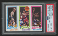 Magic Johnson, Julius Erving & Larry Bird Signed 1980-81 Topps #6 RC (PSA Encapsulated) at PristineAuction.com