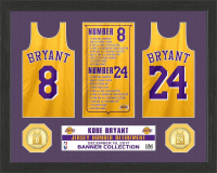 "Kobe Bryant Lakers ""Jersey Retirement Banner"" 12x15 Custom Framed Display with Highland Mint Bronze Coin at PristineAuction.com"