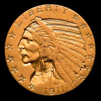1911 $5 Indian Head Half Eagle Gold Coin at PristineAuction.com