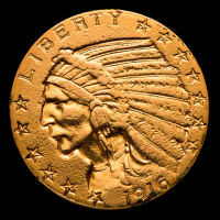 1916 $5 Indian Head Half Eagle Gold Coin at PristineAuction.com