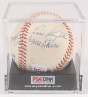 New York Yankees Greats OAL Baseball Signed by (6) with Bill Skowron, Hank Bauer, Enos Slaughter with Display Case (PSA LOA) at PristineAuction.com