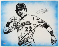 Christian Yelich Signed Brewers 16x20 Photo On Canvas (PSA Hologram) at PristineAuction.com