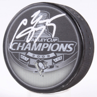 Sergei Gonchar Signed Penguins 2009 Stanley Cup Champions Logo Hockey Puck (JSA COA) at PristineAuction.com