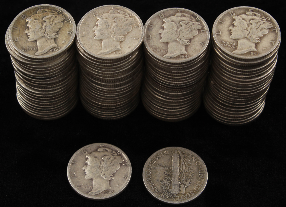 Lot of (100) Mercury Silver Dimes at PristineAuction.com