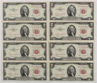 Lot of (8) 1953 $2 Two Dollars Red Seal U.S. Federal Reserve Notes with Consecutive Serial Numbers at PristineAuction.com