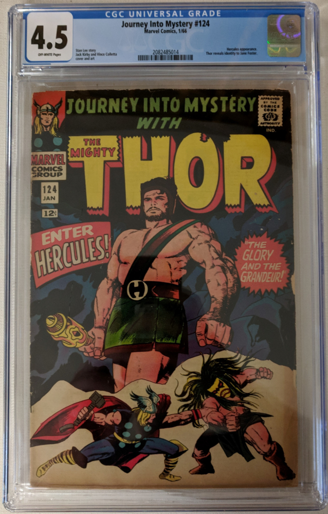"""1966 """"Journey Into Mystery"""" Issue #124 Marvel Comic Book (CGC 4.5) at PristineAuction.com"""