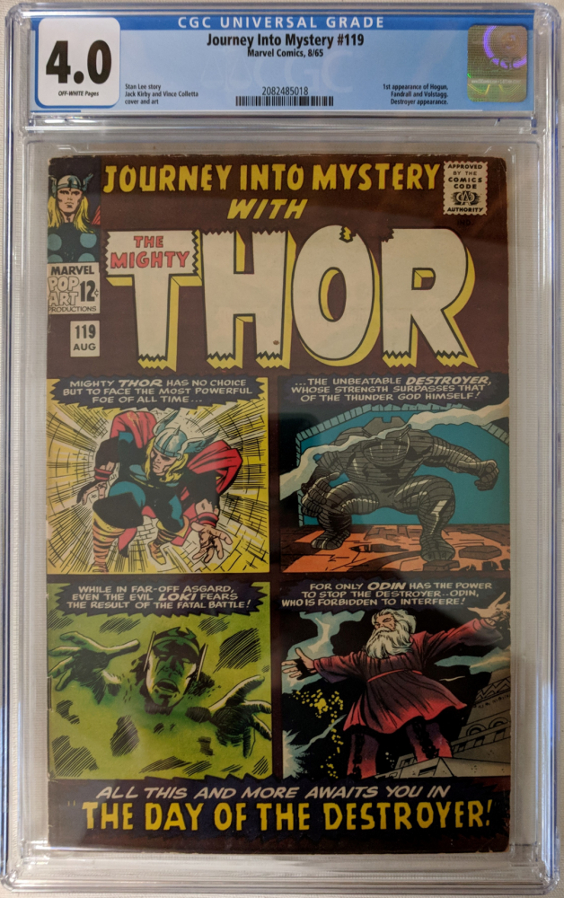 """1965 """"Journey Into Mystery"""" Issue #119 Marvel Comic Book (CGC 4.0) at PristineAuction.com"""