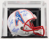 Oilers Full-Size Helmet Team-Signed by (5) with Warren Moon, Ernest Givins, Curtis Duncan, Haywood Jeffires With Display Case (JSA COA & Givins Hologram & Duncan Hologram & Jeffires Hologram & White Hologram & Moon Hologram & Run-N-Shoot Hologram) at PristineAuction.com