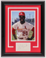 Lou Brock Signed Cardinals 14.5x18.5 Custom Framed Cut Card Display (JSA Hologram) at PristineAuction.com