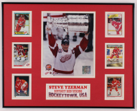 Steve Yzerman Red Wings 16.25x20.25 Custom Framed Photo Display with (6) Hockey Cards at PristineAuction.com