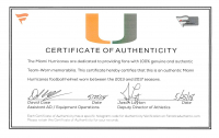 Ray Lewis, Michael Irvin, & Jim Kelly Signed Miami Hurricanes Team-Worn Full-Size Authentic On-Field Speed Helmet with (3) Inscriptions (Beckett COA & Fanatics Hologram) at PristineAuction.com