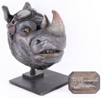 "Kevin Eastman Signed ""Teenage Mutant Ninja Turtles"" - Rocksteady - Life-Size Hand-Painted Sculpture by Tate Steinsiek (PA COA) (1/1) at PristineAuction.com"