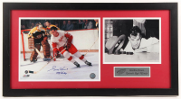 """Gordie Howe Signed Red Wings 16.25x30.25 Custom Framed Photo Display Inscribed """"Mr. Hockey""""  (JSA COA) at PristineAuction.com"""