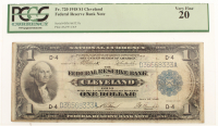 1918 $1 One Dollar U.S. National Currency Large Bank Note - The Federal Reserve Bank of Cleveland, Ohio (PCGS 20) at PristineAuction.com