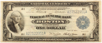 1918 $1 One Dollar U.S. National Currency Large Bank Note - The Federal Reserve Bank of Boston, Massachusetts at PristineAuction.com