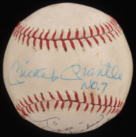 "Mickey Mantle, Joe DiMaggio, Phil Rizzuto Signed Mets Logo OL Baseball Inscribed ""No. 7"" &  ""Best Wishes"" with Display Case (JSA LOA) at PristineAuction.com"