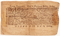 1774 $4 Four Dollars Maryland Colonial Currency Note at PristineAuction.com
