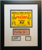 Muhammad Ali & Joe Frazier Signed 19x23 Custom Framed Cut Display with Ticket & Inscription (JSA COA & JSA LOA) at PristineAuction.com