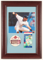Derek Jeter Yankees 14.5x20.5 Custom Framed Photo Display with Jeter 1996 First World Series Ticket & Champions Pin at PristineAuction.com